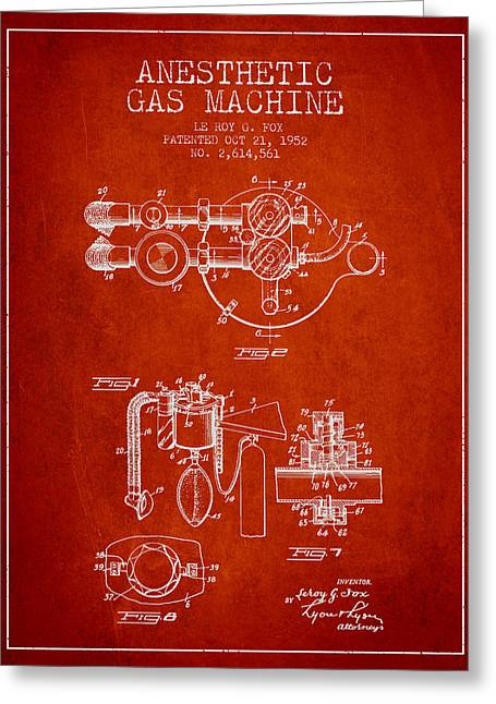 Anesthesia Greeting Cards - Anesthetic Gas Machine patent from 1952 - Red Greeting Card by Aged Pixel