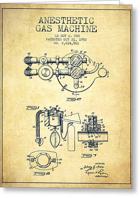 Medical Greeting Cards - Anesthetic Gas Machine patent from 1952 - Vintage Greeting Card by Aged Pixel