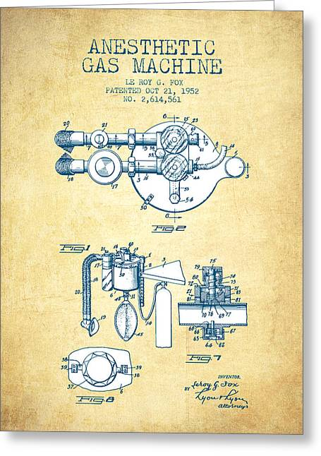 Anesthesia Greeting Cards - Anesthetic Gas Machine patent from 1952 - Vintage Paper Greeting Card by Aged Pixel
