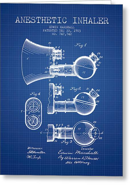Anesthesia Greeting Cards - Anesthetic Inhaler patent from 1903 - Blueprint Greeting Card by Aged Pixel