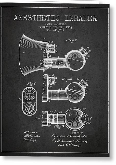 Technical Greeting Cards - Anesthetic Inhaler patent from 1903 - Charcoal Greeting Card by Aged Pixel