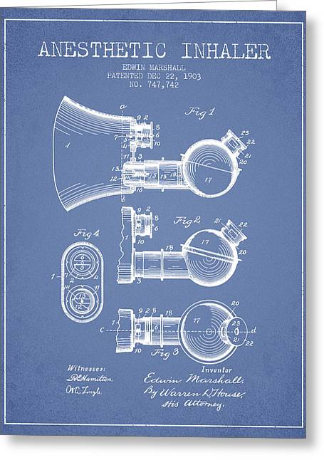 Anesthesia Greeting Cards - Anesthetic Inhaler patent from 1903 - Light Blue Greeting Card by Aged Pixel