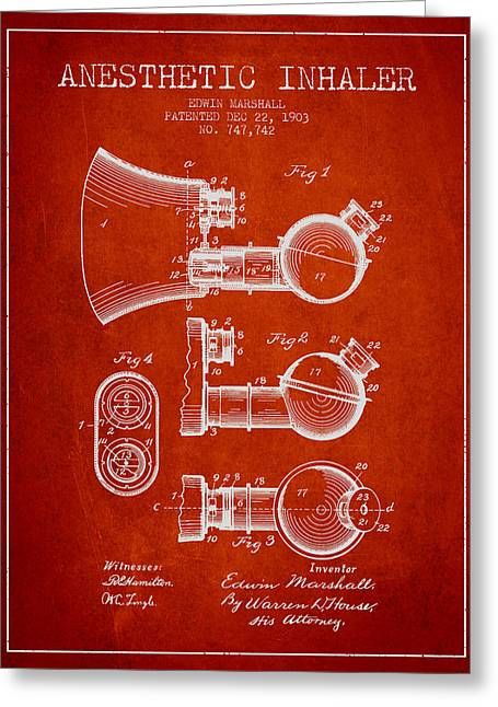 Anesthesia Greeting Cards - Anesthetic Inhaler patent from 1903 - Red Greeting Card by Aged Pixel