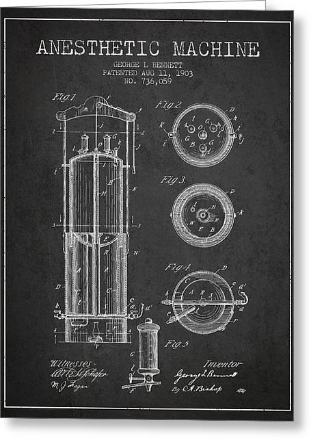 Anesthesia Greeting Cards - Anesthetic Machine patent from 1903 - Charcoal Greeting Card by Aged Pixel