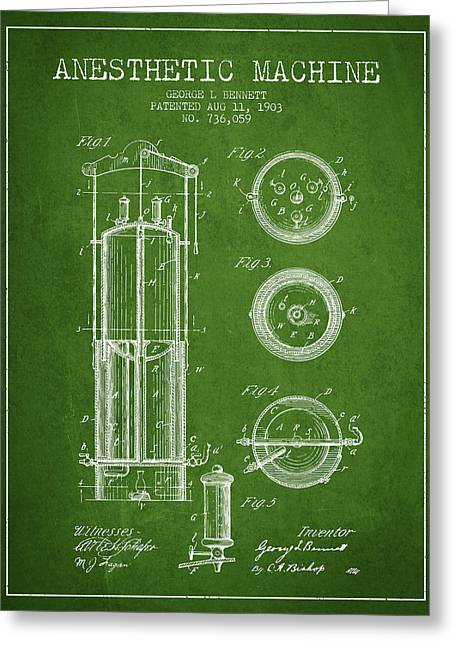 Anesthesia Greeting Cards - Anesthetic Machine patent from 1903 - Green Greeting Card by Aged Pixel