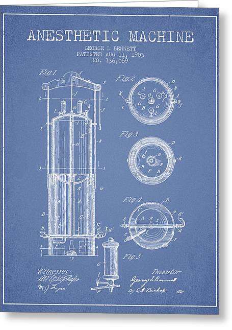 Anesthesia Greeting Cards - Anesthetic Machine patent from 1903 - Light Blue Greeting Card by Aged Pixel