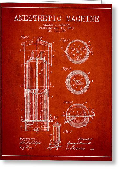 Anesthesia Greeting Cards - Anesthetic Machine patent from 1903 - Red Greeting Card by Aged Pixel