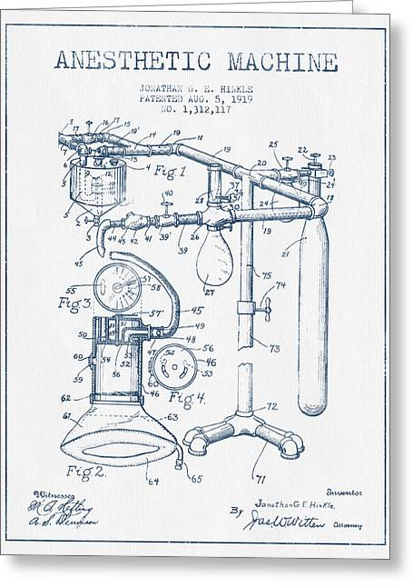 Device Greeting Cards - Anesthetic Machine patent from 1919 - Blue Ink Greeting Card by Aged Pixel
