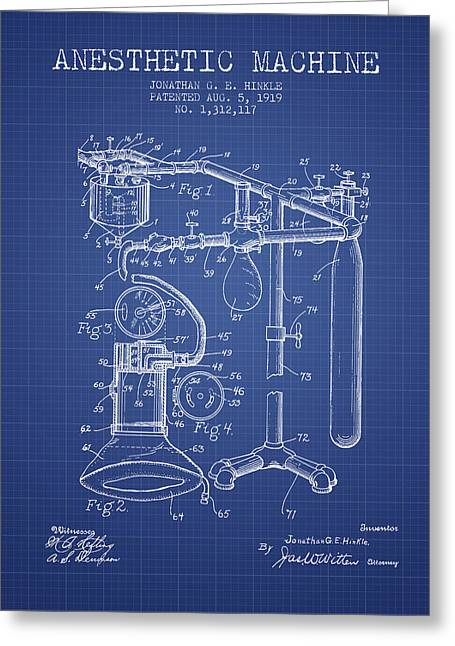 Anesthesia Greeting Cards - Anesthetic Machine patent from 1919 - Blueprint Greeting Card by Aged Pixel