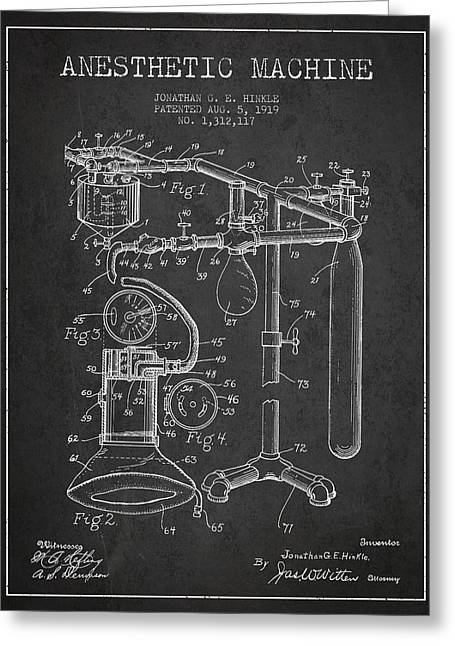 Technical Digital Art Greeting Cards - Anesthetic Machine patent from 1919 - Dark Greeting Card by Aged Pixel