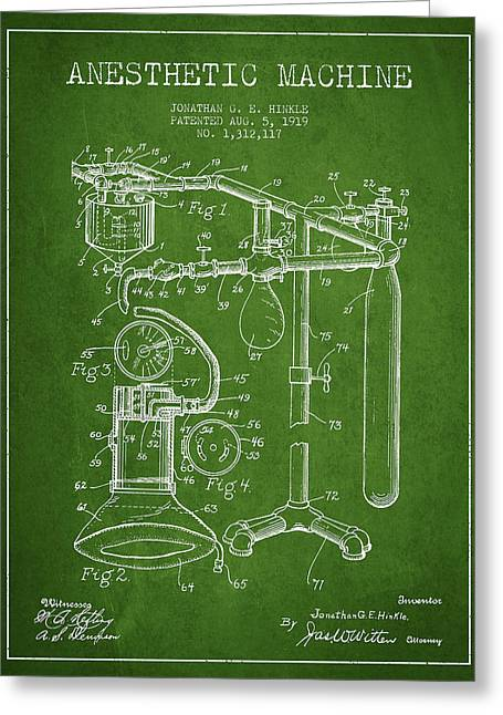 Anesthesia Greeting Cards - Anesthetic Machine patent from 1919 - Green Greeting Card by Aged Pixel