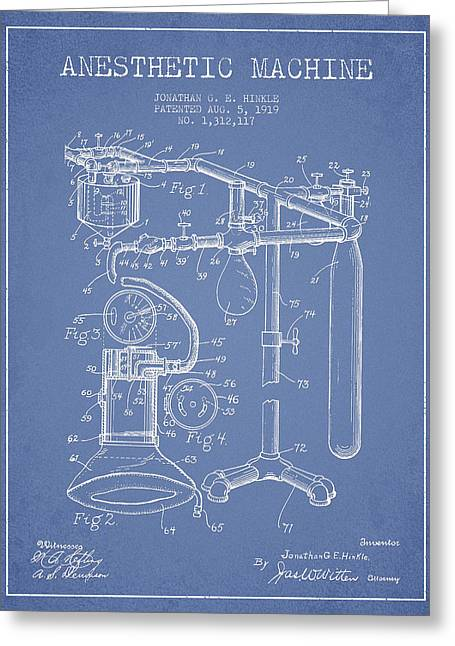 Device Greeting Cards - Anesthetic Machine patent from 1919 - Light Blue Greeting Card by Aged Pixel