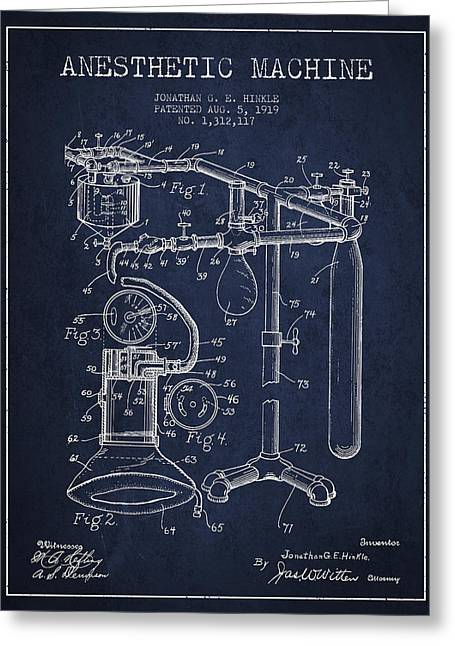 Medical Greeting Cards - Anesthetic Machine patent from 1919 - Navy Blue Greeting Card by Aged Pixel