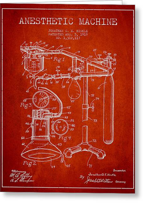 Medical Greeting Cards - Anesthetic Machine patent from 1919 - Red Greeting Card by Aged Pixel