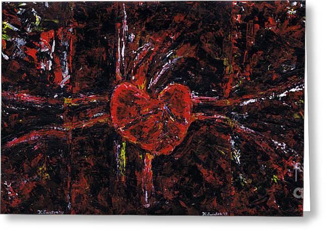 Brain Paintings Greeting Cards - Aneurysm 2 - Triptych Greeting Card by Kamil Swiatek