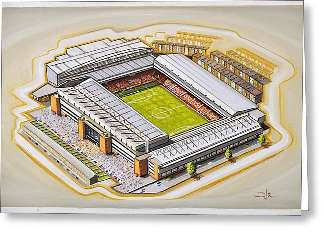 Soccer Greeting Cards Greeting Cards - Anfield - Liverpool Greeting Card by D J Rogers