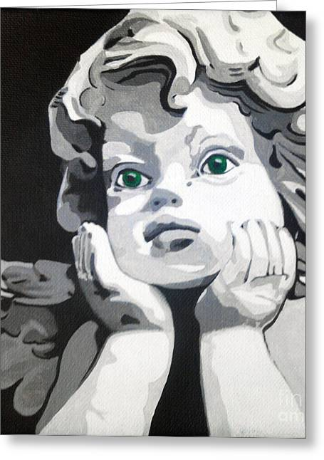 Statue Portrait Paintings Greeting Cards - Ange aux yeux verts Greeting Card by Morgan  Veissiere