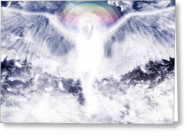 Floating Girl Greeting Cards - Angel 2 Greeting Card by Leanne M Williams