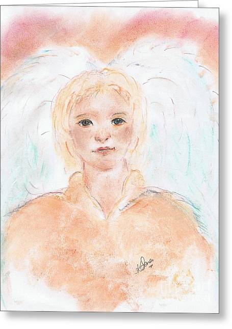 Faith Pastels Greeting Cards - Angel A  Greeting Card by Karen J Jones