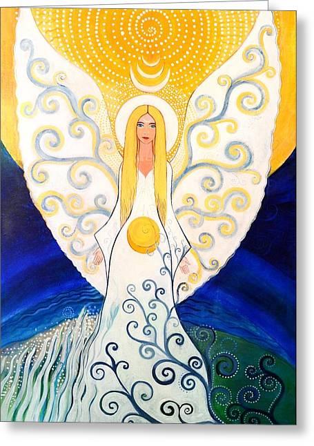 Good Karma Greeting Cards - Angel Greeting Card by Agnieszka Szalabska