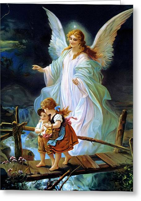Catholic Art Greeting Cards - Angel And Childs Greeting Card by Victor Gladkiy