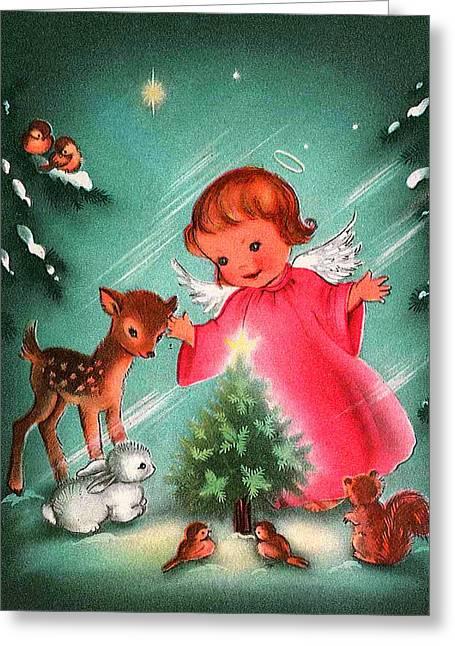 Cards Vintage Greeting Cards - Angel and Deer Greeting Card by Munir Alawi