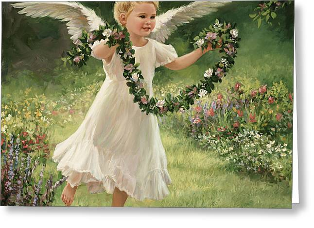 Dancing Girl Greeting Cards - Angel and Garland Greeting Card by Laurie Hein