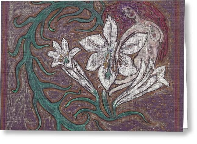 Jesus Pastels Greeting Cards - Angel and the Lillies Greeting Card by Lyn Blore Dufty