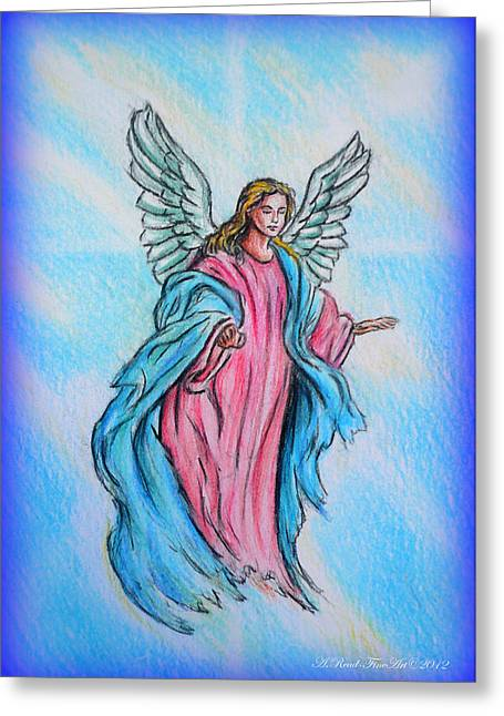 Angel Blues Drawings Greeting Cards - Angel Greeting Card by Andrew Read