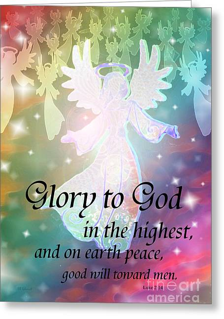 Bible Mixed Media Greeting Cards - Angel Announcement Greeting Card by E B Schmidt