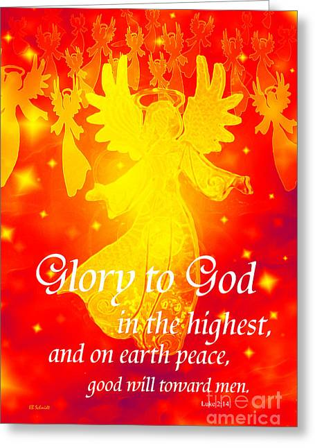 Bible Mixed Media Greeting Cards - Angel Announcement - red Greeting Card by E B Schmidt