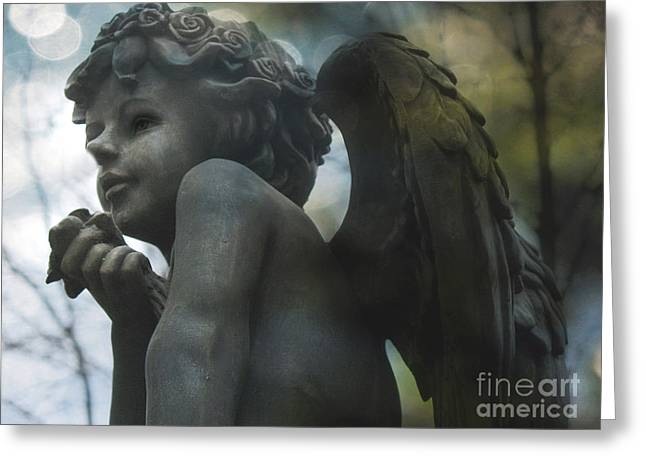 Surreal Angel Art Greeting Cards - Angel Art Child Angel Wings Ethereal Dreamy Child Cherub Angel Holding Rose Greeting Card by Kathy Fornal
