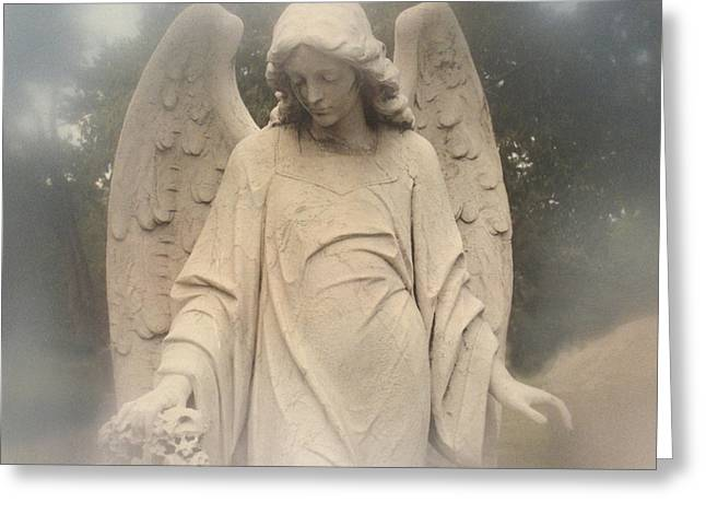 Angel Art Greeting Cards - Angel Art - Dreamy Ethereal Angel Holding Wreath In Fog - Cemetery Angel Art Monument Greeting Card by Kathy Fornal