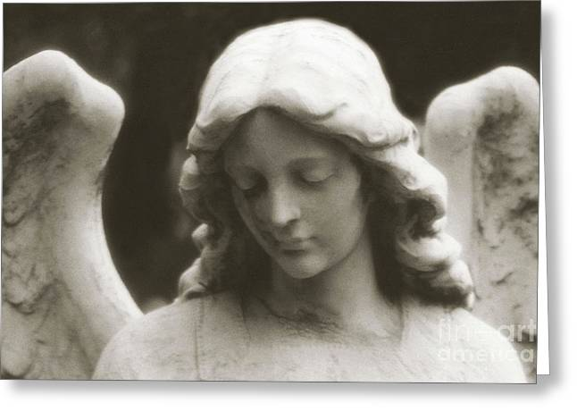 Statue Portrait Greeting Cards - Angel Art - Ethereal Dreamy Angel Guardian Angel Art Wings and Face Greeting Card by Kathy Fornal