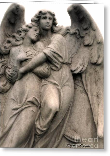 Embrace Greeting Cards - Angel Art - Guardian Angels Loving Embrace Greeting Card by Kathy Fornal