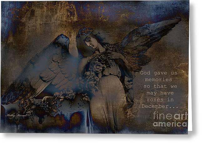 Inspirational Angel Art Greeting Cards - Angel Art Inspiration - Dreamy Surreal Fantasy Inspirational Angel Art Greeting Card by Kathy Fornal