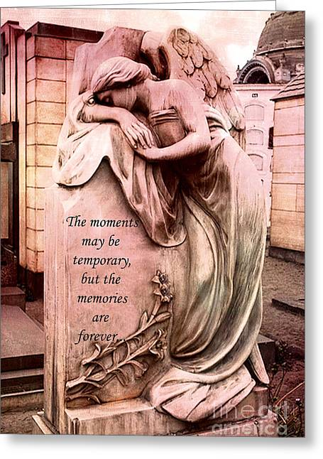Weeping Photographs Greeting Cards - Angel Art - Memorial Angel Weeping Sorrow At Grave With Inspirational Message - Memories Are Forever Greeting Card by Kathy Fornal