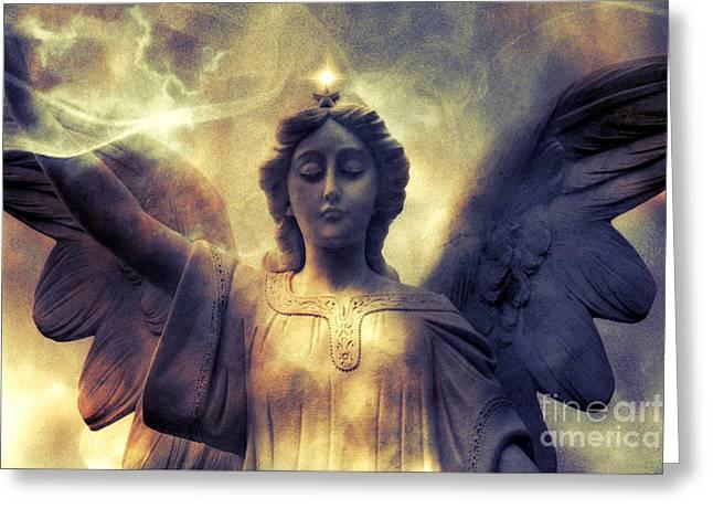 Angel Art Greeting Cards - Angel Art Surreal Fantasy Heavenly Angel Celestial Spiritual Greeting Card by Kathy Fornal