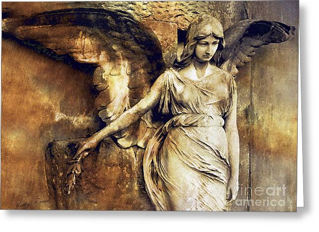 Ethereal Angel Art Greeting Cards - Angel Art - Surreal Gothic Angel Art Photography Dark Sepia Golden Impressionistic Angel Art Greeting Card by Kathy Fornal
