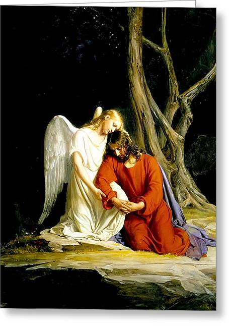 Visiting Hours Greeting Cards - Angel at Gethsemene Greeting Card by Carl Bloch