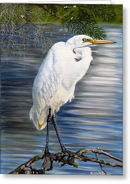 Wadingbird Greeting Cards - Angel At Sylvias Pond Greeting Card by Phyllis Beiser