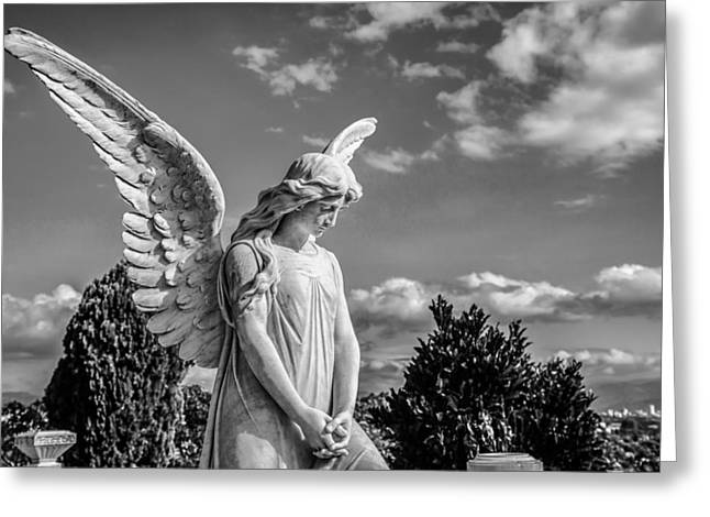Body Photographs Greeting Cards - Angel at the Heredia General Cemetery Greeting Card by Andres Leon