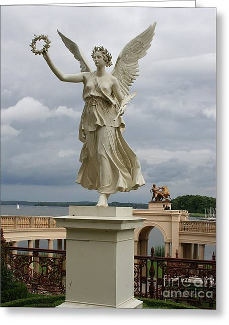 Orangey Greeting Cards - Angel At The Orangery Schwerin Greeting Card by Christiane Schulze Art And Photography