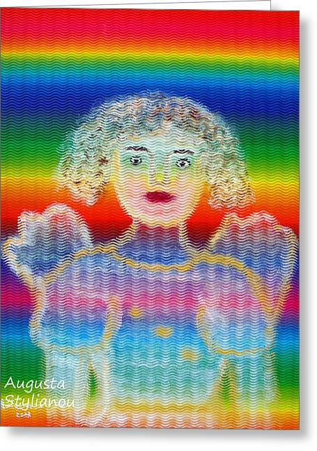 Spectrum Paintings Greeting Cards - Angel Greeting Card by Augusta Stylianou