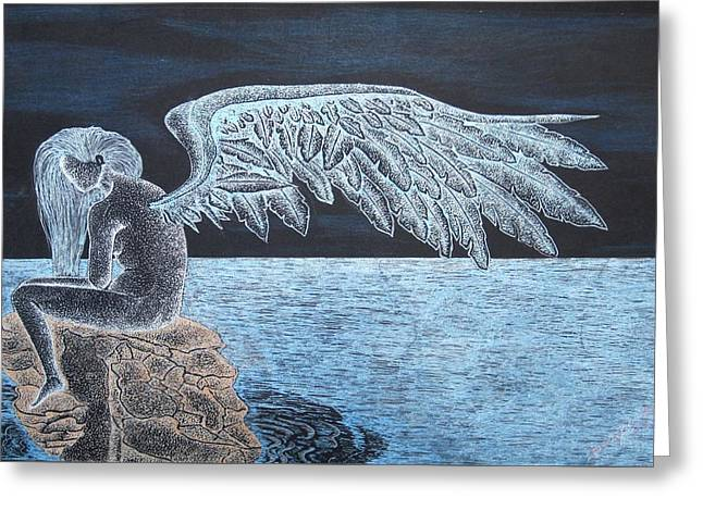 Night Angel Greeting Cards - Angel Awaits Greeting Card by Dwayne  Hamilton
