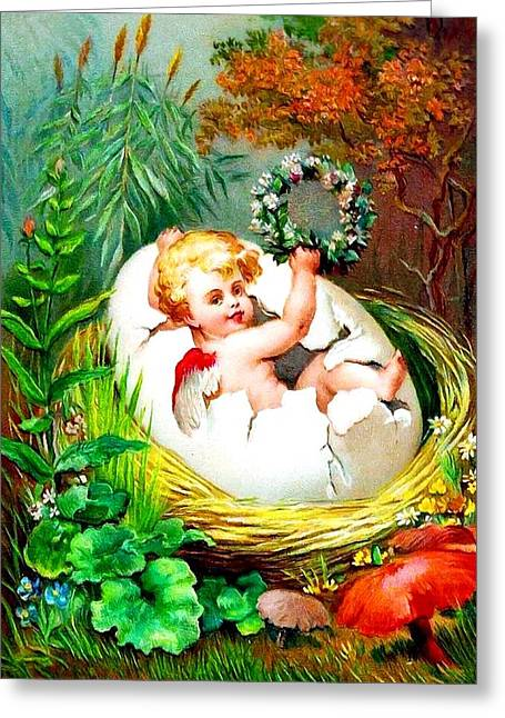 Christmas Greeting Photographs Greeting Cards - Angel Birth Greeting Card by Munir Alawi