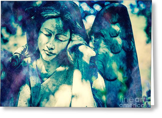 Condolences Greeting Cards - Angel Blue Greeting Card by Sonja Quintero