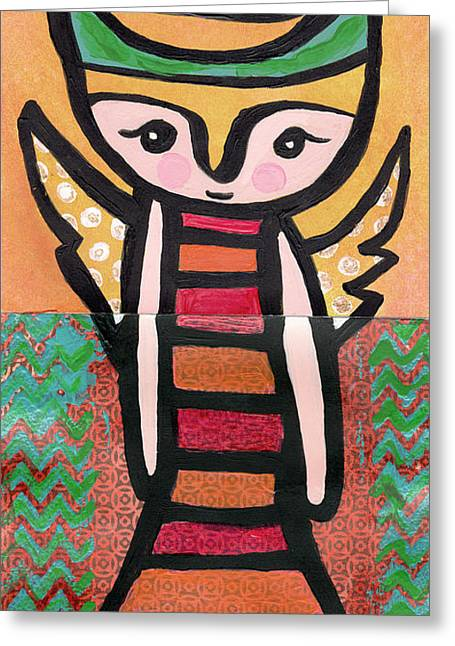 Chihuahua Artwork Greeting Cards - Angel Boy #2 Greeting Card by Jen Kelly Hirai