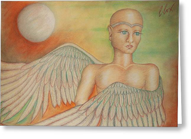 Sacred Pastels Greeting Cards - Angel Boy Greeting Card by Claudia Cox