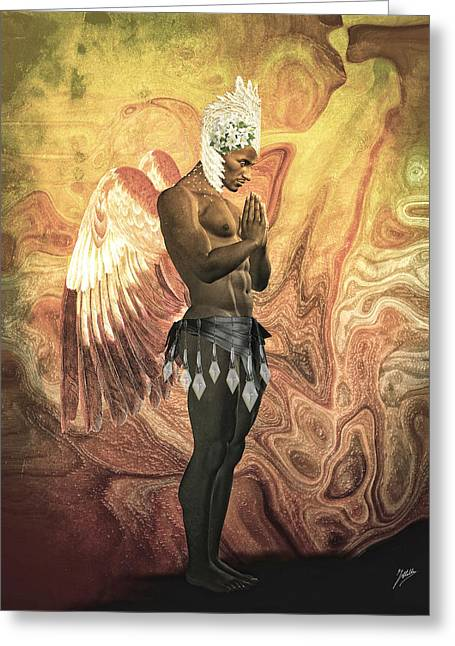 Cute Mixed Media Greeting Cards - Angel cabaret Greeting Card by Joaquin Abella